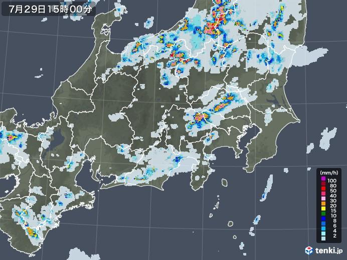 関東・甲信地方の雨雲レーダー(2021年07月29日)