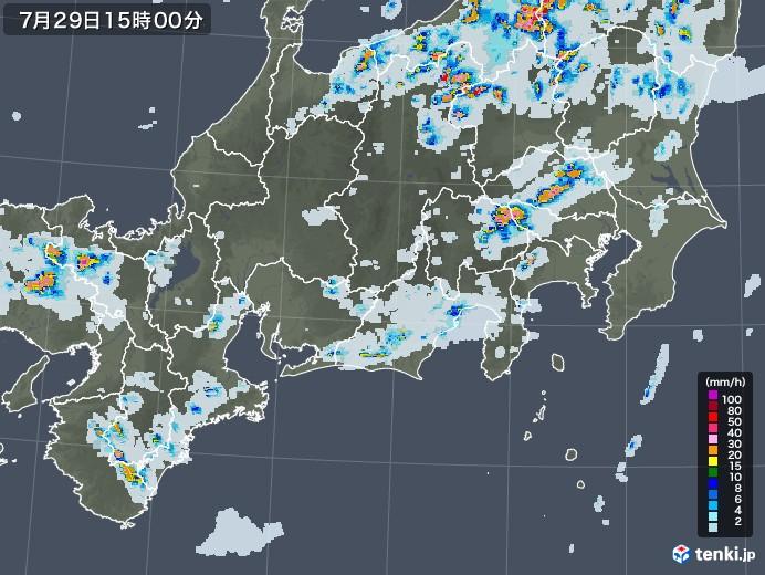 東海地方の雨雲レーダー(2021年07月29日)