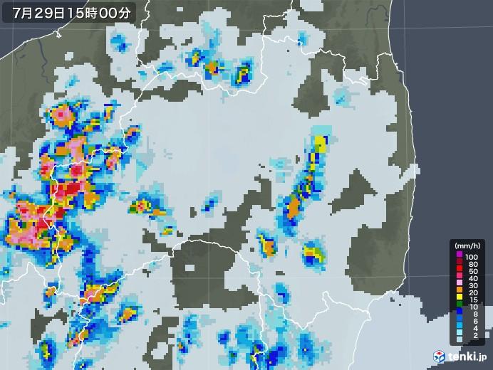 福島県の雨雲レーダー(2021年07月29日)