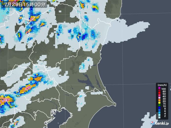 茨城県の雨雲レーダー(2021年07月29日)