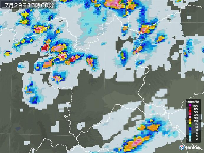 群馬県の雨雲レーダー(2021年07月29日)