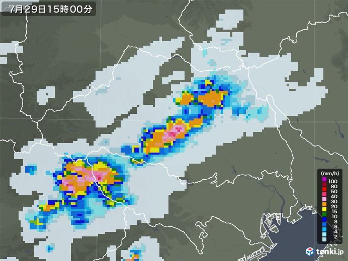 埼玉県の雨雲レーダー(2021年07月29日)