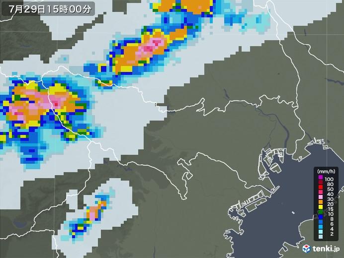 東京都の雨雲レーダー(2021年07月29日)