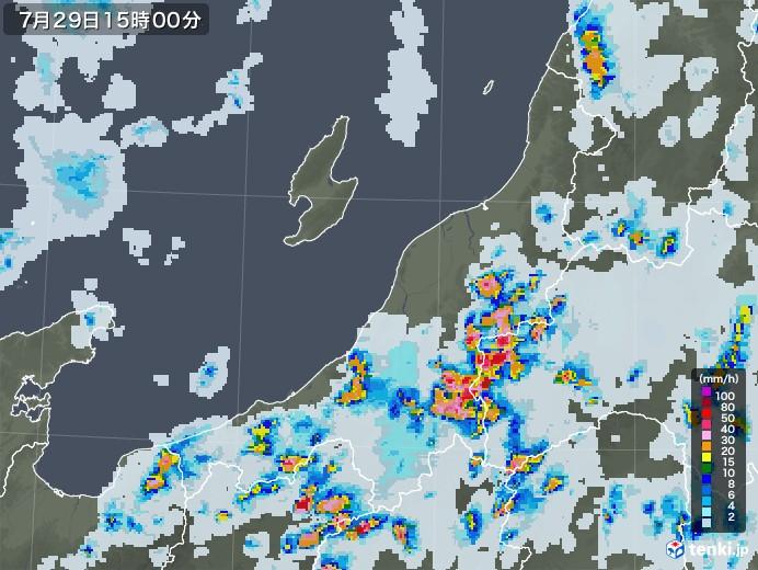 新潟県の雨雲レーダー(2021年07月29日)