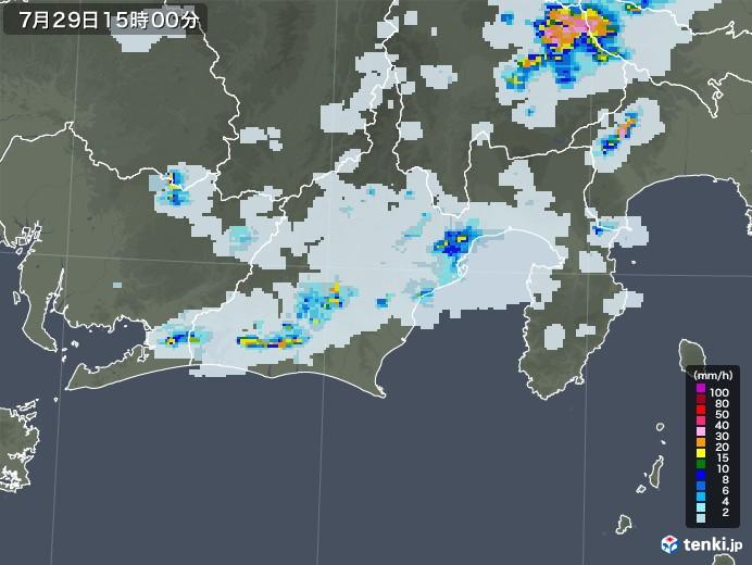 静岡県の雨雲レーダー(2021年07月29日)