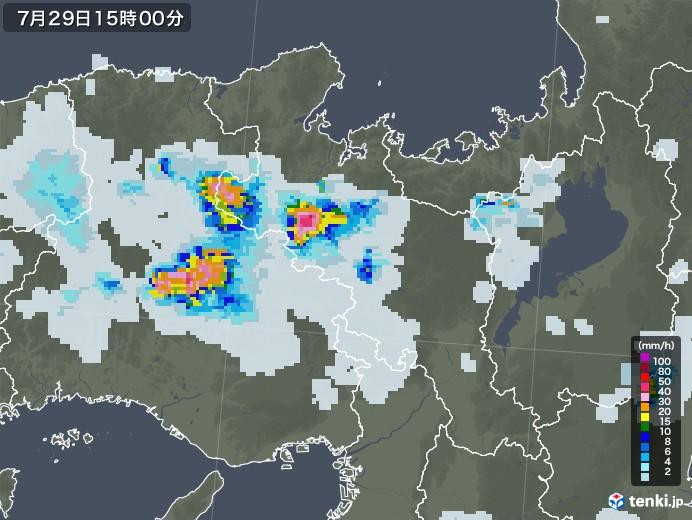 京都府の雨雲レーダー(2021年07月29日)