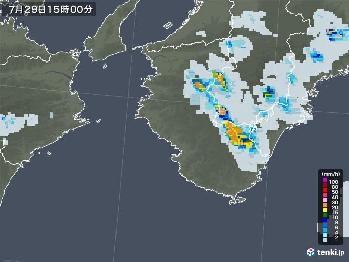和歌山県の雨雲レーダー(2021年07月29日)