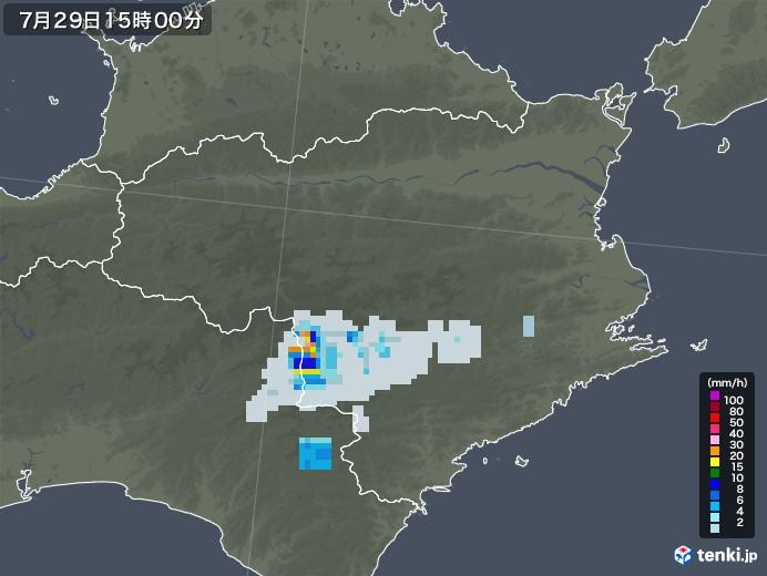 徳島県の雨雲レーダー(2021年07月29日)