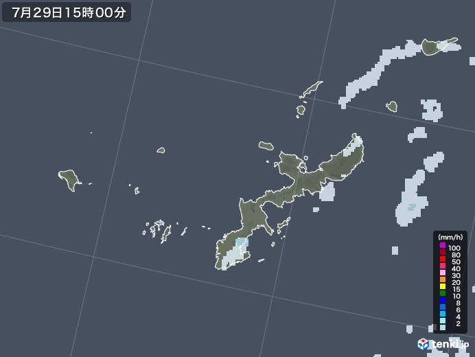 沖縄県の雨雲レーダー(2021年07月29日)