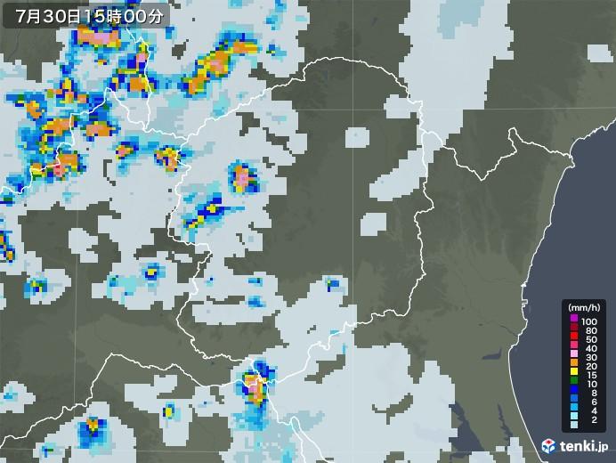 栃木県の雨雲レーダー(2021年07月30日)
