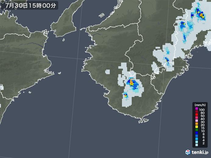 和歌山県の雨雲レーダー(2021年07月30日)