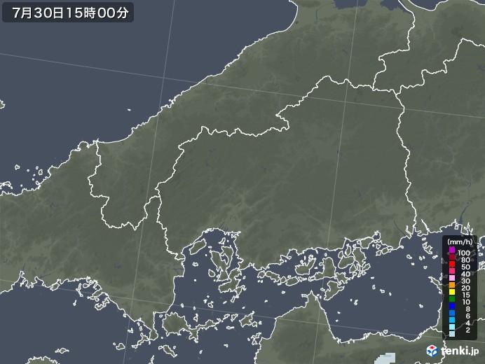 広島県の雨雲レーダー(2021年07月30日)