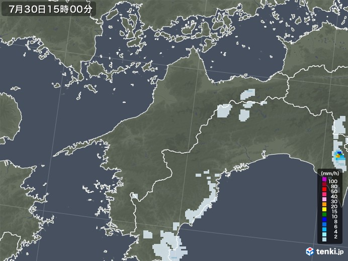 愛媛県の雨雲レーダー(2021年07月30日)