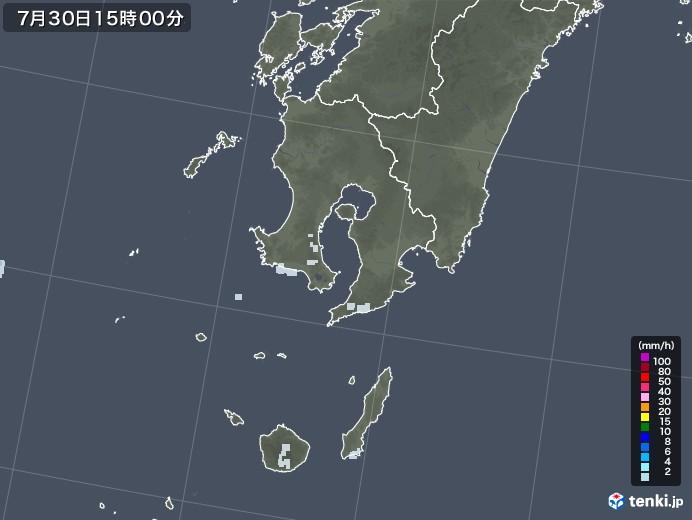 鹿児島県の雨雲レーダー(2021年07月30日)