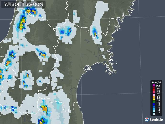宮城県の雨雲レーダー(2021年07月30日)
