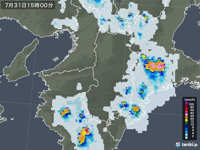 奈良県の雨雲レーダー(2021年07月31日)