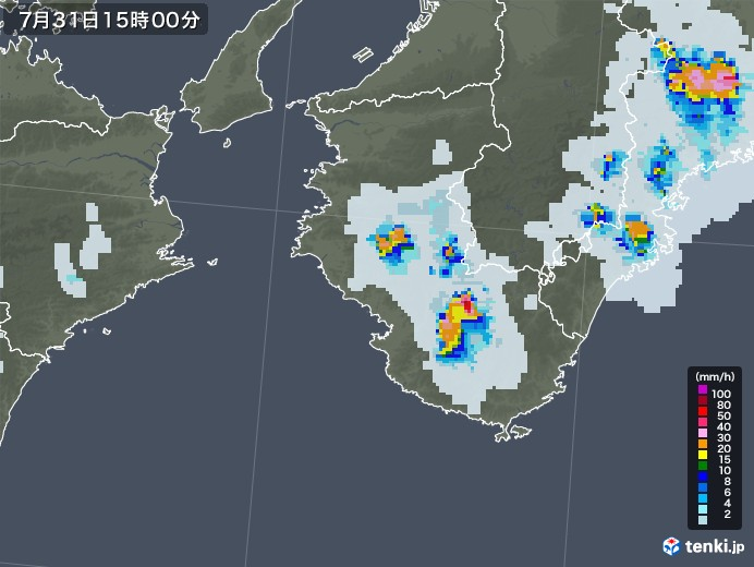 和歌山県の雨雲レーダー(2021年07月31日)