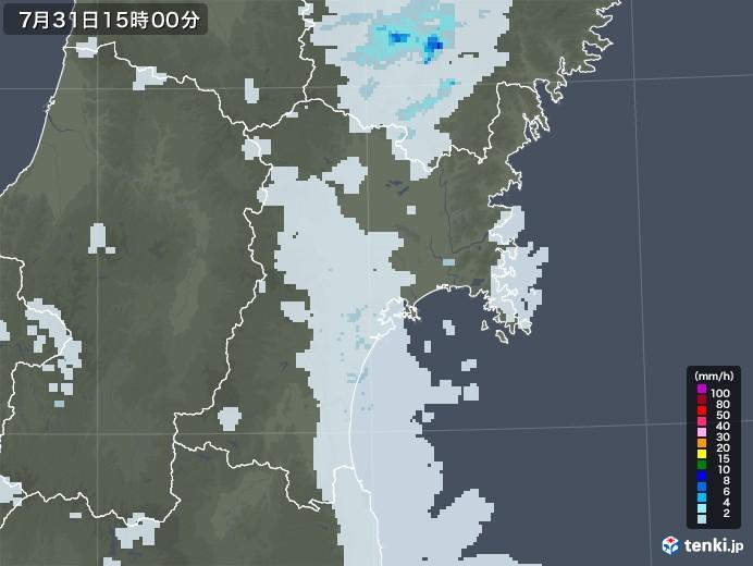 宮城県の雨雲レーダー(2021年07月31日)