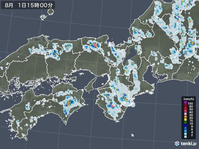 近畿地方の雨雲レーダー(2021年08月01日)