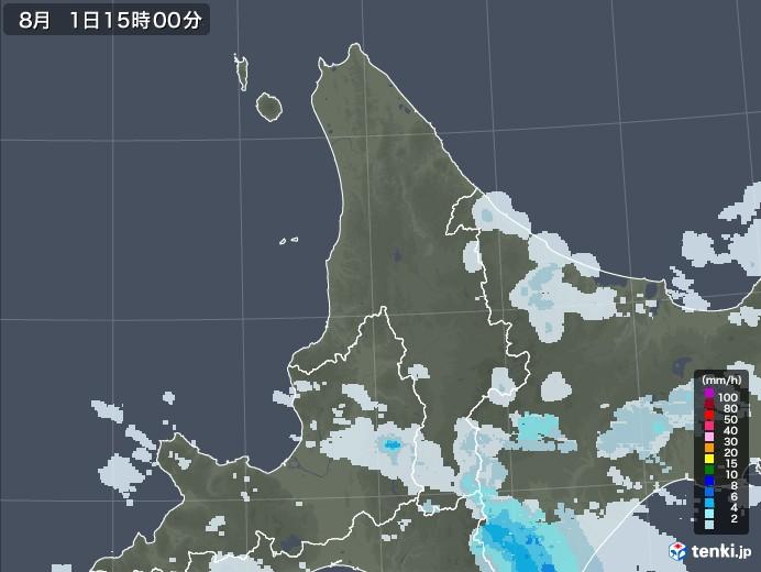 道北の雨雲レーダー(2021年08月01日)