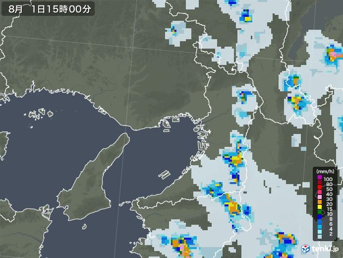 大阪府の雨雲レーダー(2021年08月01日)