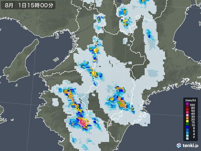 奈良県の雨雲レーダー(2021年08月01日)