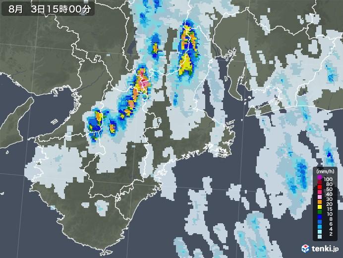 三重県の雨雲レーダー(2021年08月03日)