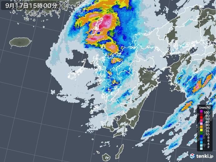 九州地方の雨雲レーダー(2021年09月17日)