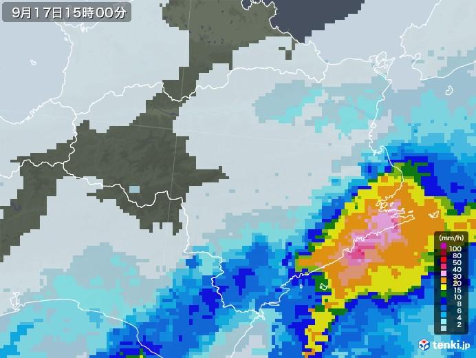 徳島県の雨雲レーダー(2021年09月17日)