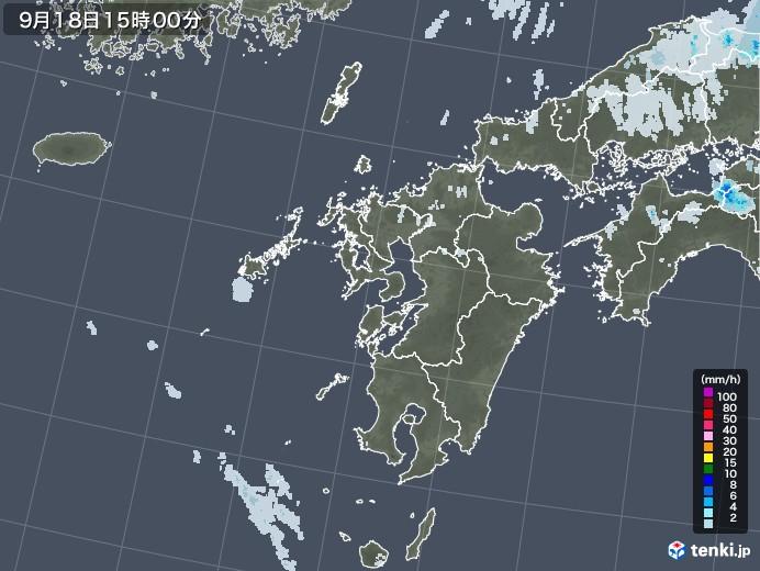 九州地方の雨雲レーダー(2021年09月18日)