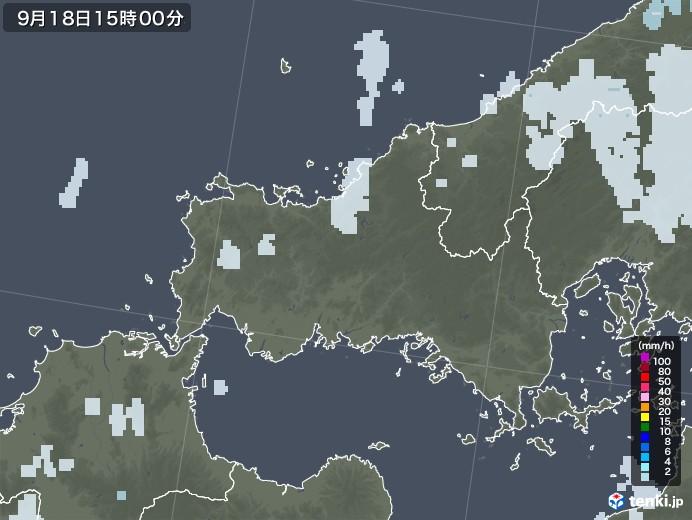 山口県の雨雲レーダー(2021年09月18日)