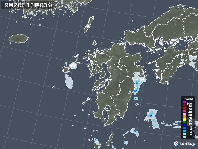 九州地方の雨雲レーダー(2021年09月20日)