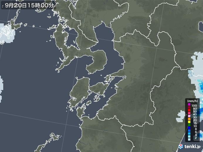 熊本県の雨雲レーダー(2021年09月20日)