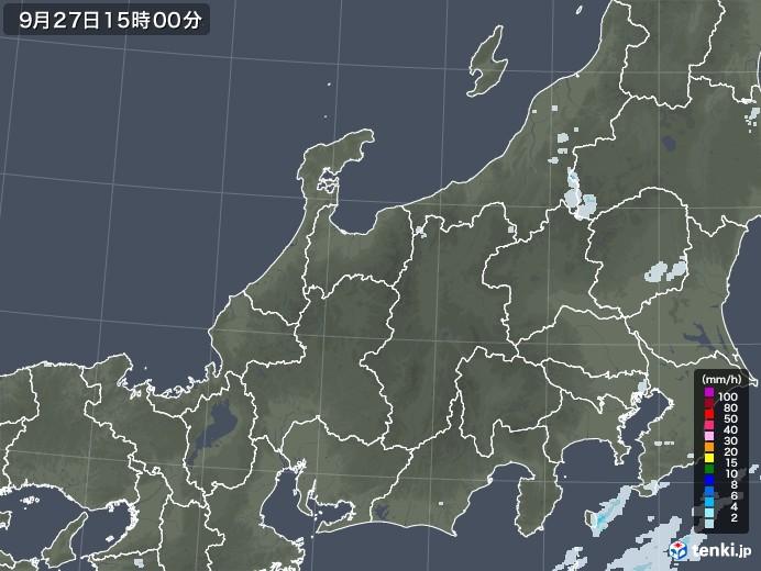 北陸地方の雨雲レーダー(2021年09月27日)