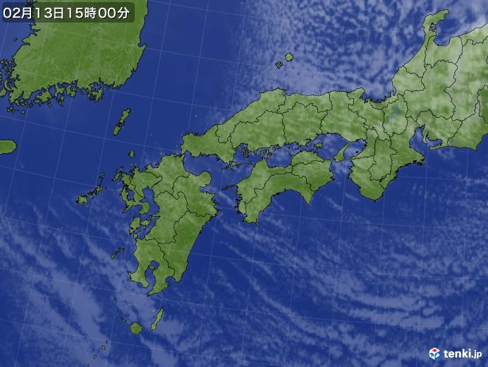 実況天気図(2018年02月13日)