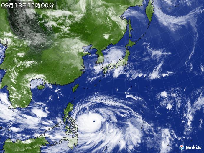 実況天気図(2018年09月13日)