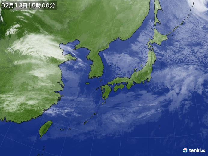 実況天気図(2019年02月13日)