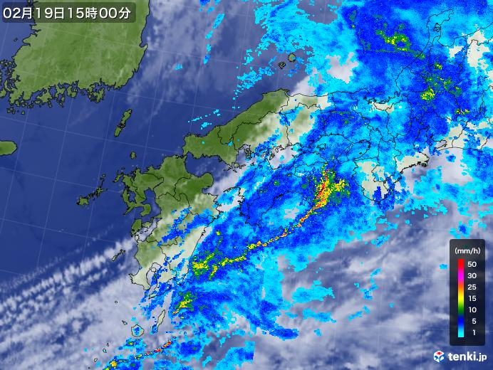 実況天気図(2019年02月19日)