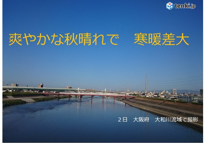 関西 爽やかな秋晴れで寒暖差の大きい一日 今後の天気と気温の推移は?