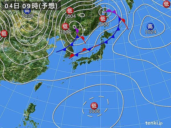 4日(日)~5日(月)にかけて寒冷前線通過