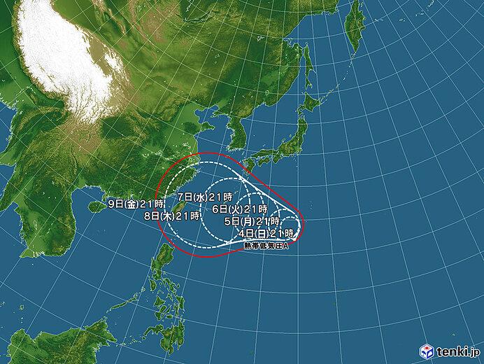 今後24時間以内に台風へ