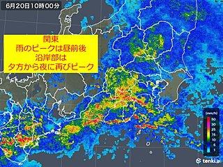 関東 雨ピークは昼前後 沿岸は夕方以降も