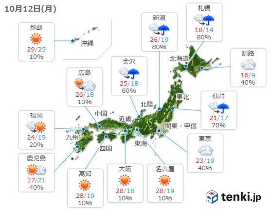 12日 西から高気圧も関東は帰宅時に傘の出番 北日本は強雨注意