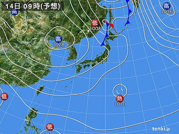 14日(水)以降の天気・気温