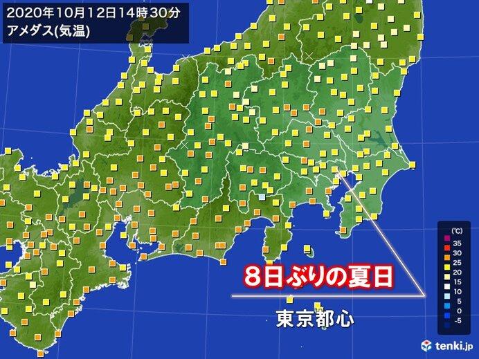 東京都心 ようやく日差し 8日ぶりの夏日