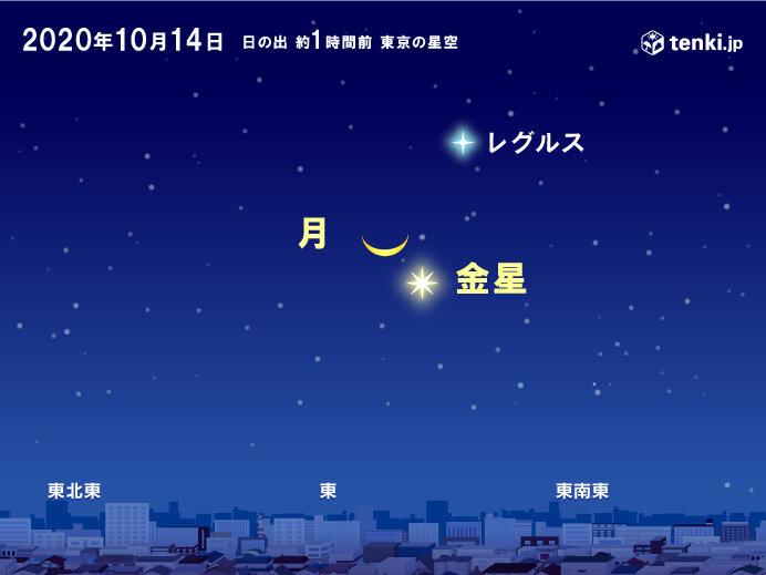 あす14日明け方 細い月と金星が接近 早起きして空を眺めよう