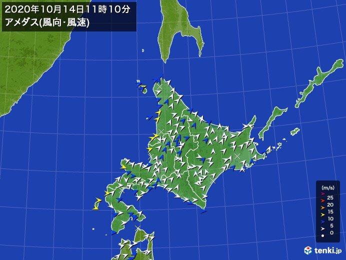 北海道を寒冷前線が通過中