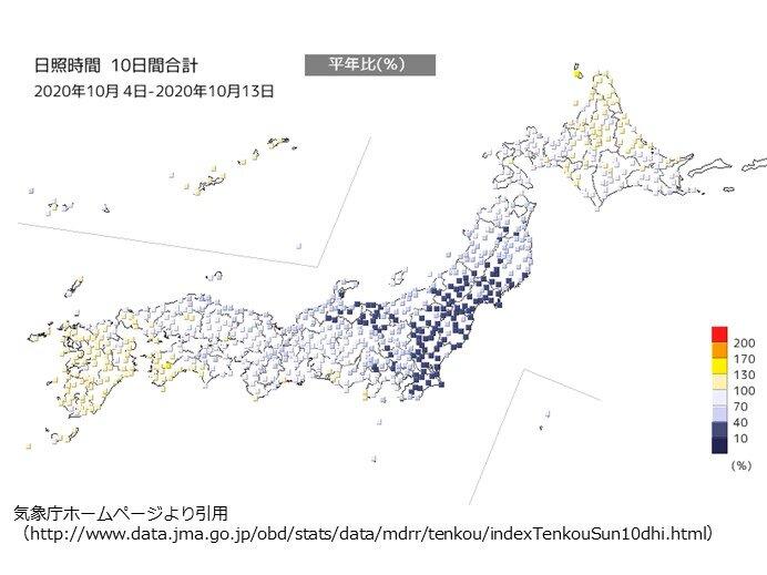 関東や北陸、東北南部 日照時間少ない