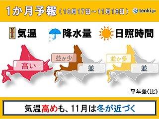 北海道の1か月予報 10月後半も気温は高め。11月は一転…