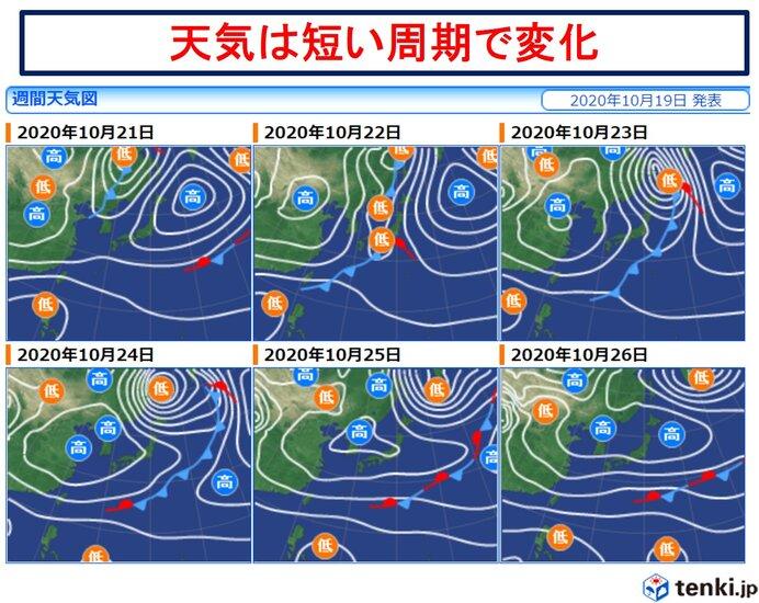 木曜~金曜は強雨や横殴りの雨に 天気は短い周期で変化